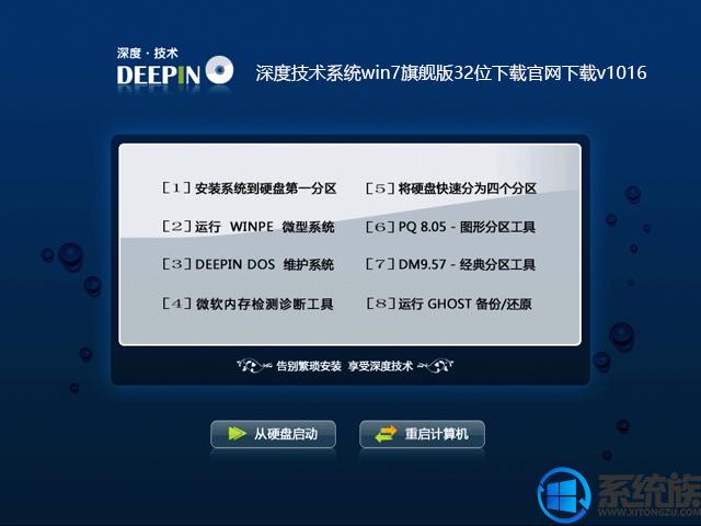 深度技术系统win7旗舰版32位下载官网下载v1016