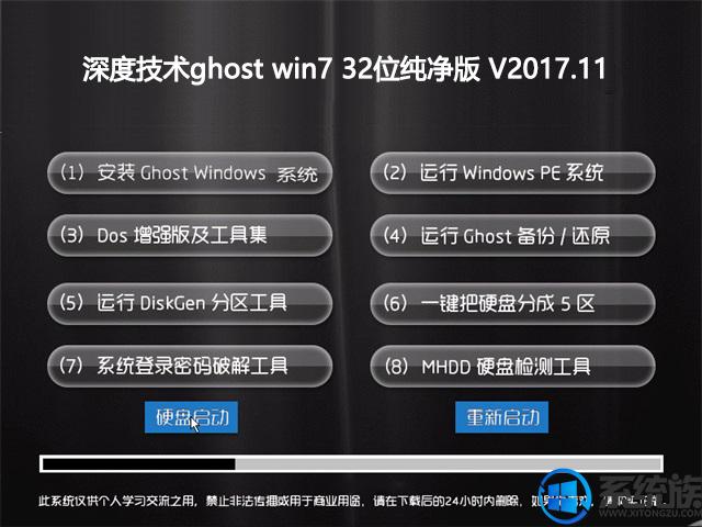 深度技术Ghost Win7 Sp2 32位免激活极速纯净版v2017.11