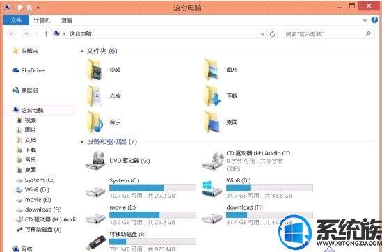 Win8系统设备和驱动器与U盘分开显示的操作技巧