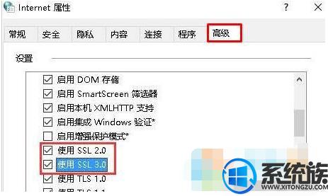 Win10系统高级设置中tls1.0 tls1.1的启用方法