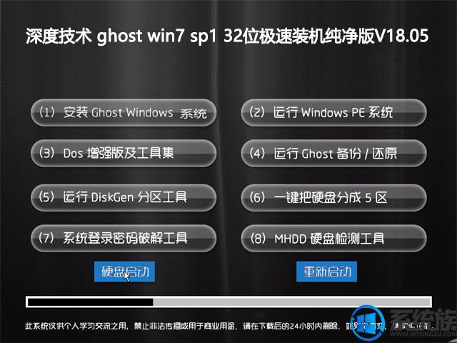 深度技术 ghost win7 sp1 32位极速装机纯净版V18.05