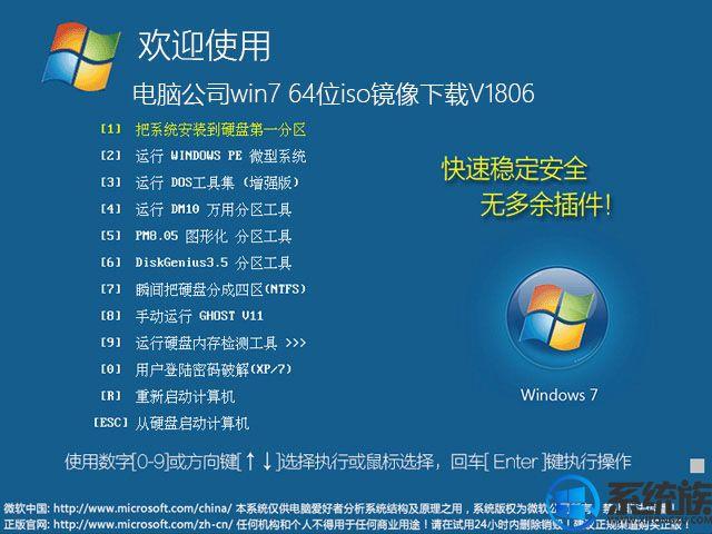 电脑公司win7 64位iso镜像下载V1806