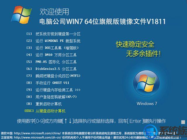 电脑公司win7 64位旗舰版镜像文件v1811