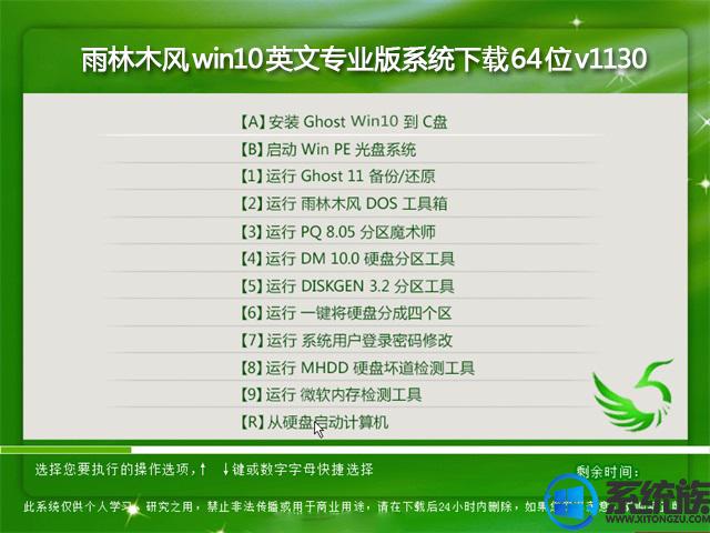 雨林木风win10英文专业版系统下载64位v1130