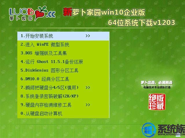 萝卜家园win10企业版64位系统下载v1203