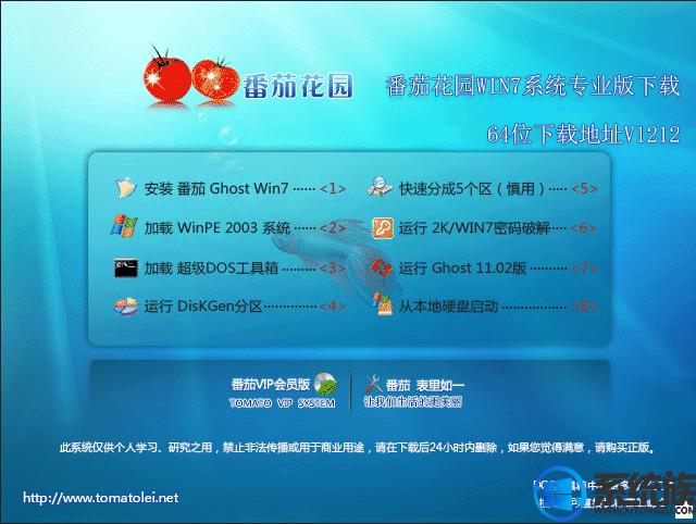 番茄花园win7系统专业版下载64位下载地址v1212